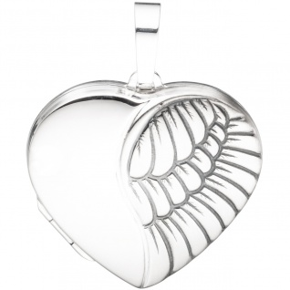Medaillon Herz für 2 Fotos 925 Sterling Silber matt Anhänger zum Öffnen