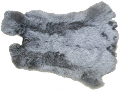 Kaninchenfelle grau meliert naturfarben, ca. 30x35 cm, Felle vom Kaninchen mi...