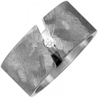 Partner Ring breit aus Titan 1 Diamant Brillant 0, 05ct. Partnerring Titanring