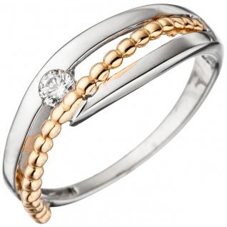 Damen Ring 333 Gold Weißgold Rotgold bicolor 1 Zirkonia Goldring