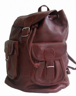 großer Leder Rucksack mit Trennfach braun, oil pulled Rindleder, 2 Vortaschen, 1 Hauptfach, ca. 41x39 cm