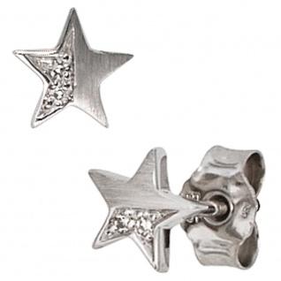Ohrstecker Stern 585 Gold Weißgold matt 1 Diamant Brillant 0, 022ct. Ohrringe - Vorschau 2