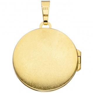 Medaillon rund 333 Gold Gelbgold mattiert 1 Zirkonia Anhänger zum Öffnen - Vorschau 3