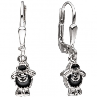 Kinder Boutons schwarzes Schaf 925 Silber Ohrringe Ohrhänger Kinderohrringe