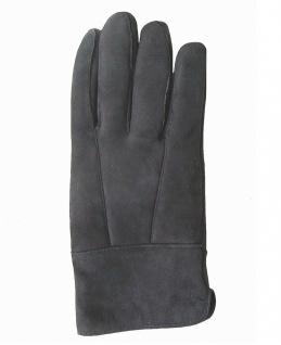 Damen Velourleder Lammfell Fingerhandschuhe lang aus Fellstücken dunkelgrau, ...