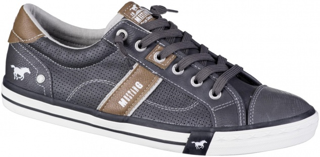 MUSTANG Herren Leder Imitat Sneakers graphit, Textilfutter, weiche Decksohle