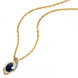 Anhänger 585 Gold Gelbgold Weißgold 8 Diamanten Brillanten 1 blauer Safir