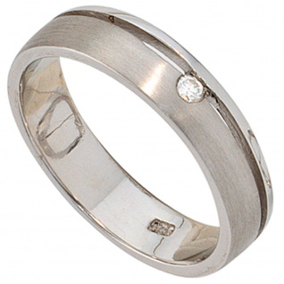 Damen Ring 925 Sterling Silber rhodiniert matt 1 Diamant Brillant Silberring