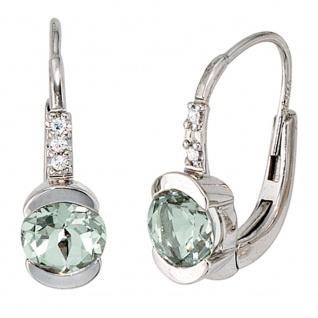 Boutons 585 Gold Weißgold 6 Diamanten 2 Amethyste grün Ohrringe Ohrhänger
