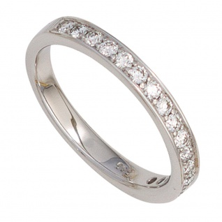 Damen Ring 585 Gold Weißgold 17 Diamanten Brillanten 0, 50ct. Weißgoldring