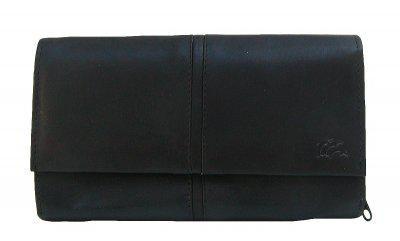 Dolphin exklusive große Damen Leder Börse schwarz, 9xCC, 3 Scheinfächer, RV-Münzfach, ca. 18x10, 5 cm