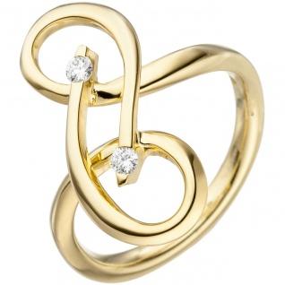 Damen Ring verschlungen 585 Gold Gelbgold 2 Diamanten Brillanten Diamantring