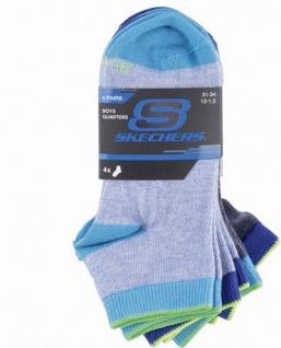 Skechers Basic NOS Quarter Boys Jungen Socken stone, 4er Pack Skechers Jungen Socken blaugrau, 6539123/27-30