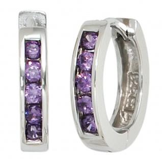 Creolen rund 925 Sterling Silber 10 Zirkonia lila violett Ohrringe Silbercreolen