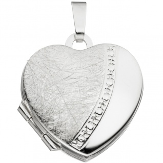 Medaillon Herz für 2 Fotos Herz 925 Sterling Silber eismatt Anhänger zum Öffnen - Vorschau 2
