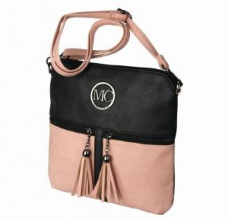 Marc Chantal coole Kunstleder Tasche schwarz/rosa, Body Bag, langer Trageriemen, ca. 26x26x3 cm