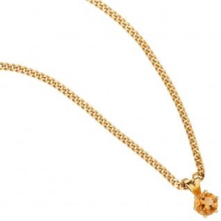 Anhänger 585 Gold Gelbgold 1 Citrin orange Goldanhänger Citrinanhänger