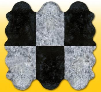 Fellteppiche grau-schwarz aus 6 Lammfellen, Größe ca. 185 x 180 cm, 30 Grad w...
