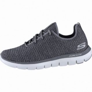 Skechers Flex Advantage 2.0 coole Herren Strick Sneakers charcoal, Skechers Air Cooled Memory Foam-Fußbett, 4240166/45