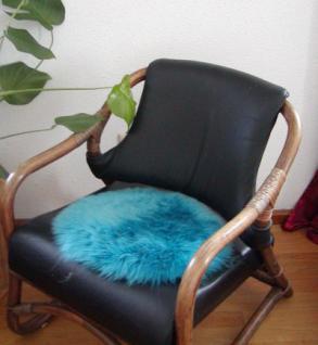 runde Sitzauflage aus australischen Lammfellen, Fellkissen petrol, Ø ca. 45 cm, waschbar, Haarlänge ca. 70 mm