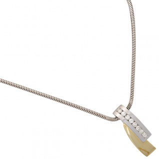 Anhänger 585 Gold Weißgold Gelbgold bicolor 8 Diamanten Brillanten Goldanhänger - Vorschau 1