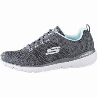 Skechers Flex Appeal 3.0 coole Damen Strick Sneakers charcoal, Skechers Air-Cooled-Memory-Foam-Fußbett, 4241140/36