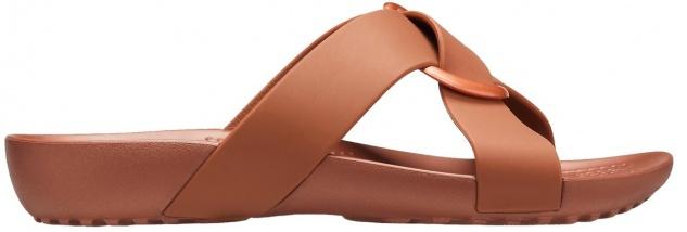 CROCS TM SHOES Serena Cross Band Slide W, ultraleichte Damen Badeschuhe bronze