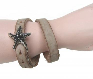 Boom Belts cooles Damen, Herren echt Leder Armband beige, Unisex Leder Wickel Armband, ca. 43x1 cm, für 1 cm Schließen