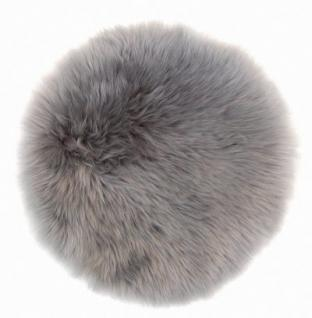runde Sitzauflage aus australischen Lammfellen, Fellkissen grau, Ø ca. 45 cm, waschbar, Haarlänge ca. 70 mm - Vorschau 2