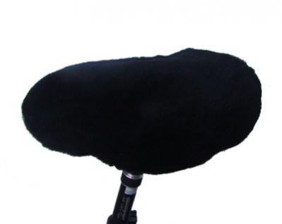 warmer Lammfell Fahrradsattelbezug schwarz groß, 20 mm geschoren