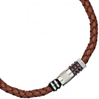 Collier Halskette Leder braun mit Edelstahl teilplattiert 45 cm Kette Lederkette - Vorschau 1