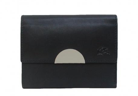 Dolphin kleine Damen Leder Börse schwarz mit Metallclip, 6xCC, 2 Scheinfächer...