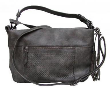 Schulterglück Carla 2 coole Damen Tasche dunkelgrau metallic, Shopper grau, 5 Fächer, langer Trageriemen, 36x23x9 cm