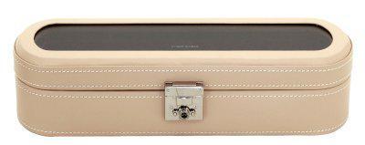 Friedrich Lederwaren exklusiver Damen Leder Uhrenkasten für 5 Uhren beige, Serie Cordoba, ca. 33x10, 7x8, 5 cm
