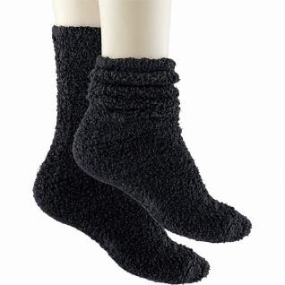 Camano Cuddle Socks black, 2er Pack flauschige Damen Kuschel Socken schwarz