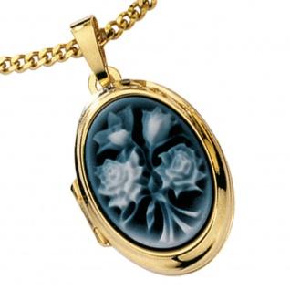 Medaillon oval 585 Gold Gelbgold 1 Lagen Kamee Blumen Anhänger zum Öffnen