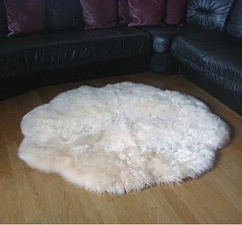 Fellteppiche beige gefärbt rund, Ø ca. 140 cm, 30 Grad waschbar, Haarlänge ca...