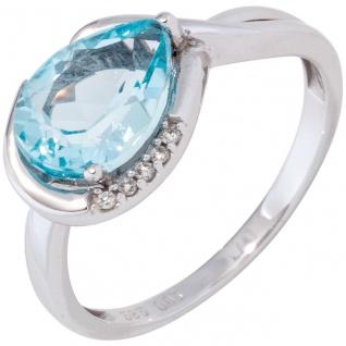 Damen Ring 585 Gold Weißgold 1 Blautopas hellblau blau 5 Diamanten Brillanten