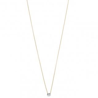 Collier Kette mit Anhänger 750 Gold Gelbgold Weißgold bicolor 1 Diamant Brillant