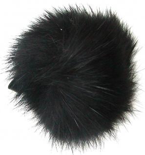 Echt Kaninchenfell Fellbommeln schwarz, Ø ca. 5 cm, mit Lederschlaufe