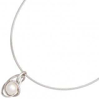 Anhänger 585 Gold Weißgold 1 Süßwasser Perle 9 Diamanten Perlenanhänger