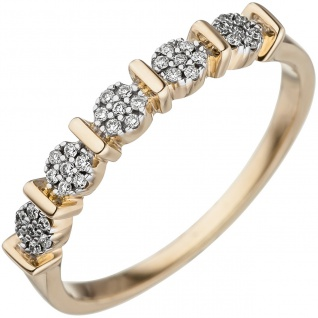 Damen Ring 585 Gold Gelbgold 35 Diamanten Brillanten Goldring Diamantring