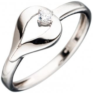 Damen Ring 333 Gold Weißgold mit 1 Zirkonia Weißgoldring