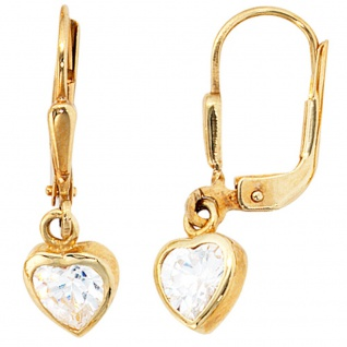 Kinder Boutons Herz Herzen 333 Gold Gelbgold 2 Zirkonia Ohrringe Ohrhänger