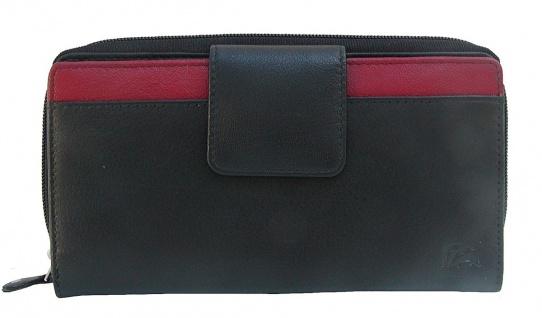 Dolphin minimalistische Damen Leder Reißverschluss Börse schwarz/rot, 12xCC, ...