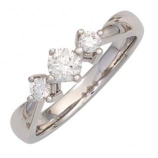 Damen Ring 585 Gold Weißgold 3 Diamanten Brillanten 0, 50ct. Weißgoldring