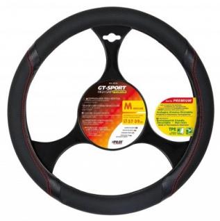 LAMPA GT-Sport sportlicher Kunstleder Lenkradbezug mit Sportgriff schwarz-rot, Lenkrad Durchmesser 37-39 cm