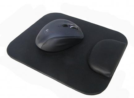 Leder Mouse Pad mit weicher Schaumstoff Handballenauflage schwarz, ca. 19x23 ...