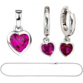 Kinder Mädchen Schmuck-Set Herz pink rosa 925 Silber Zirkonia mit Kette 38 cm - Vorschau 3