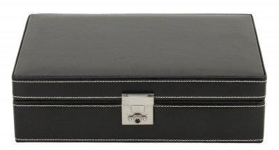 Friedrich Lederwaren Rindleder Uhrenkasten mit Schloss für 10 Uhren schwarz, Serie London, ca. 29, 5x18, 5x7, 5 cm